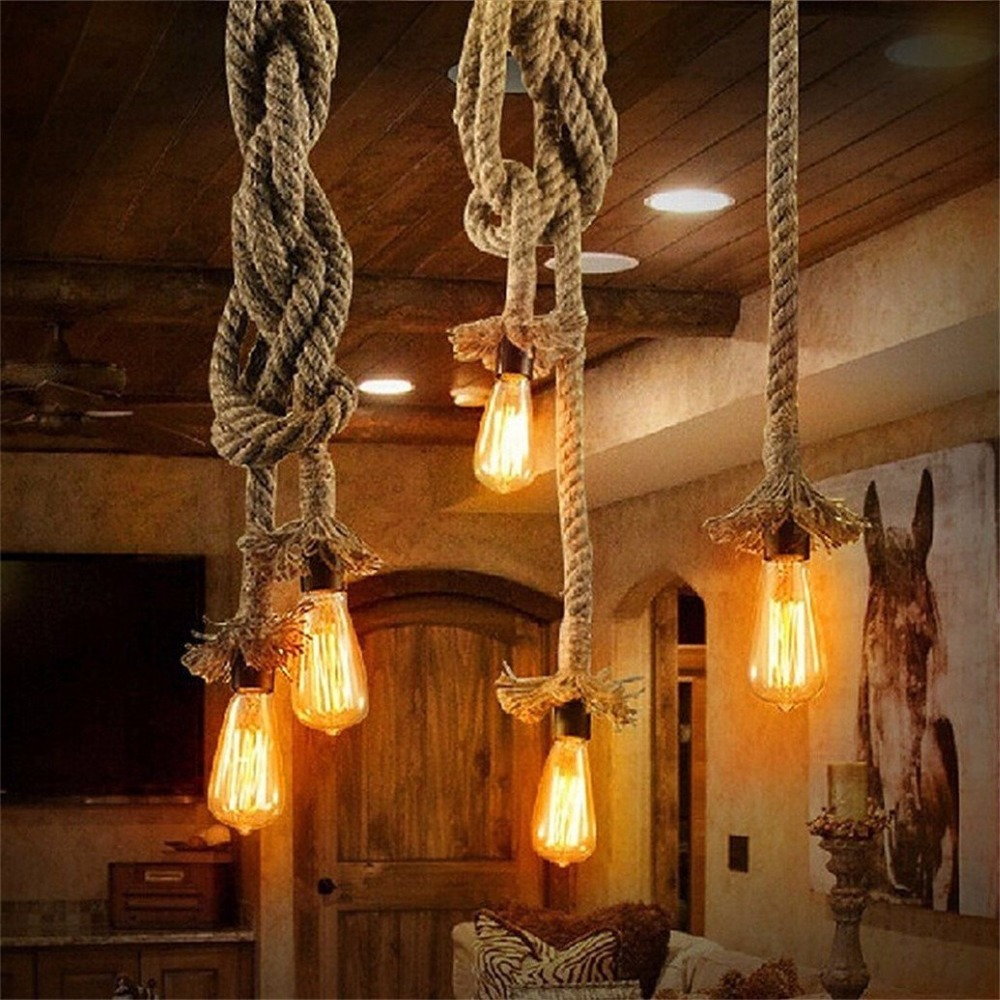 Pendant Light Industrial Hemp Rope Hanging Light Vintage Retro Ceiling Light