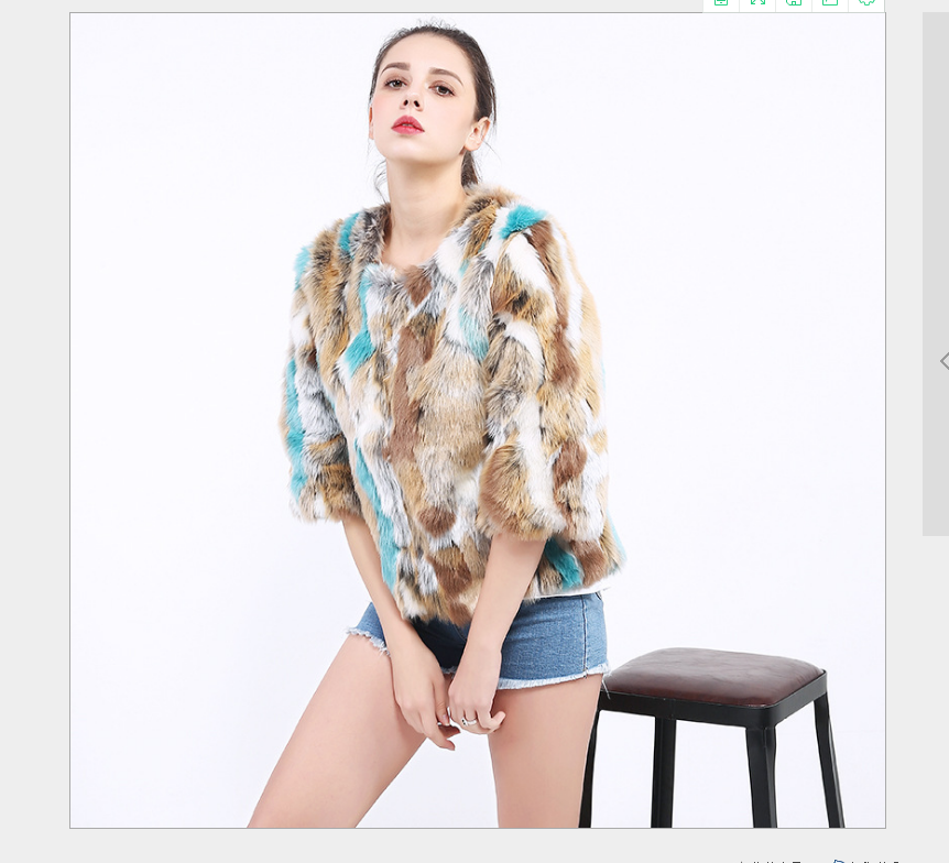 Rabbit fur coat for women faux fur coat long sleeve jacket led base coat double functions keep long 10 hours new rainbow style
