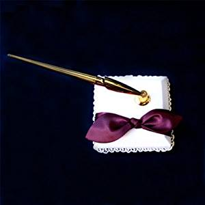 SACASUSA (TM) Burgundy Satin Bow Ivory Reception Pen Set Penstand for Wedding Reception Any Special Occasions