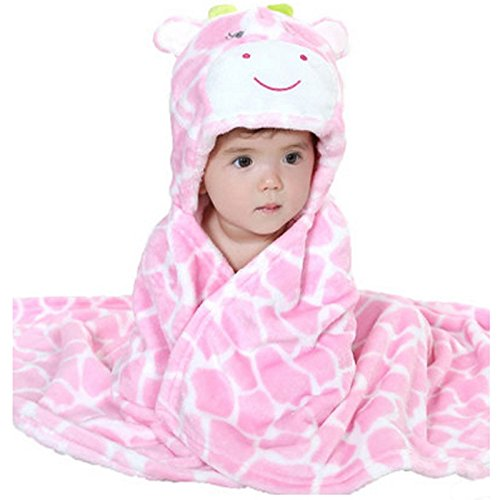 Zoopurr Pets Baby Boys' or Baby Girls' Hooded Animal Blanket; Super Soft, Huggable Plush Hoodie Blanket (Pink Cow)