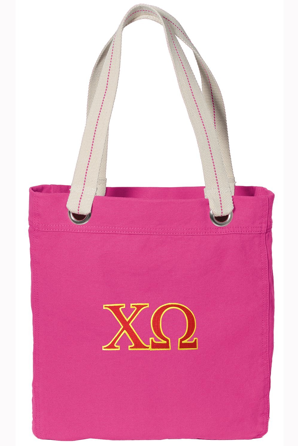 Chi Omega Tote Bag RICH Dye Washed Pink COTTON CANVAS