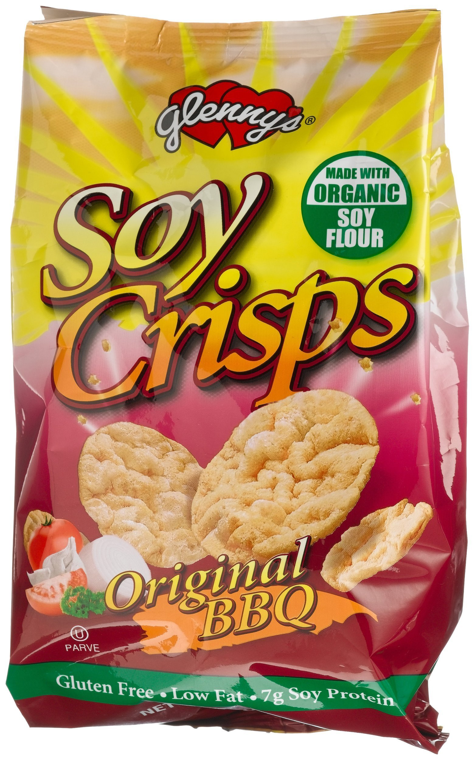 Glenny's Soy Crisps, Organic Original Barbeque, 3.5-Ounce Bags (Pack of 6)