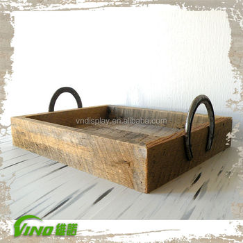 Rust Wooden Serving Tray With Metal Handle Antique Handles Distressed