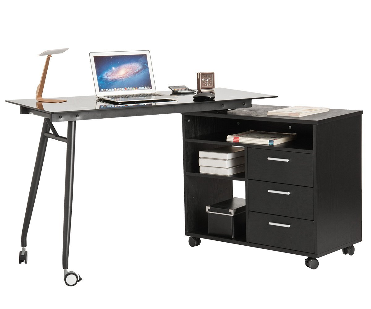 ProHT L-Shaped Office Computer Swivel Desk with Drawers and Wheels. Corner Writing Desk/PC/Laptop/Table/Workstation Black Glass Portable Desk w/ Big Storage Place.CARB Certified. Black.(05022A)