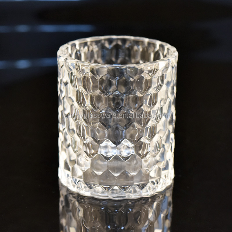 6oz luxury embossed glass candle jars for hotel decor