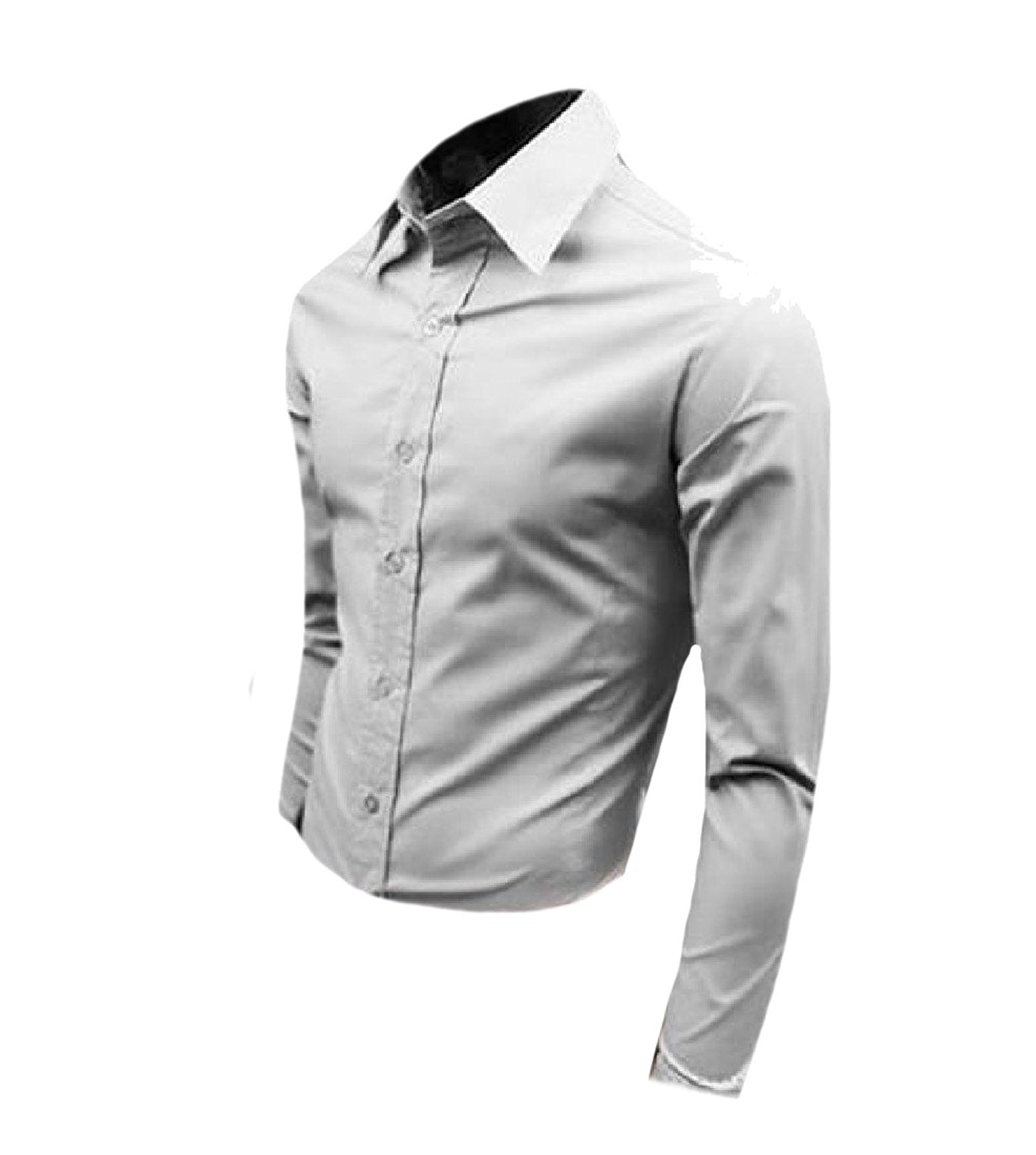 YUNY Men Original Fit Chinese Style Button Down Casual Shirts Black S