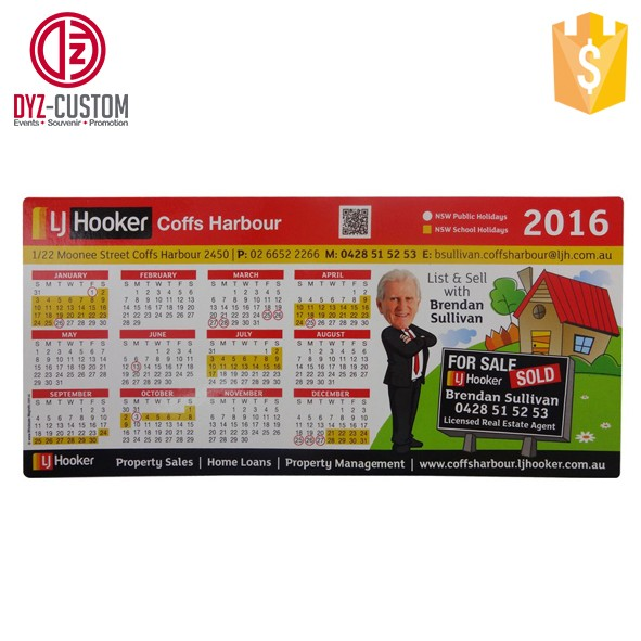 Custom advertising fridge magnet Paper Printed Calendar refrigerator magnet