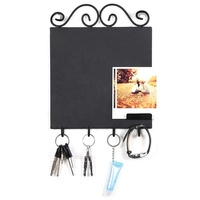 Wall Mounted Black Metal Design Erasable Chalkboard Memo Sign & 4 Key Hooks