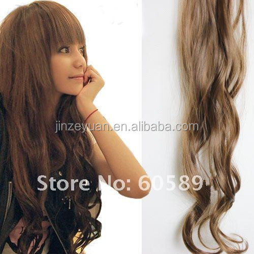 2 clips-on synthetic hair extension curl hairpieces 55cm*8cm 10pcs/lot 5 colors available similar to human hair