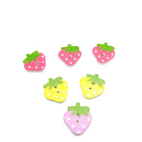 DIY Kids Fruit Shaped Candy Color 23x25mm Strawberry Shaped Wooden Button