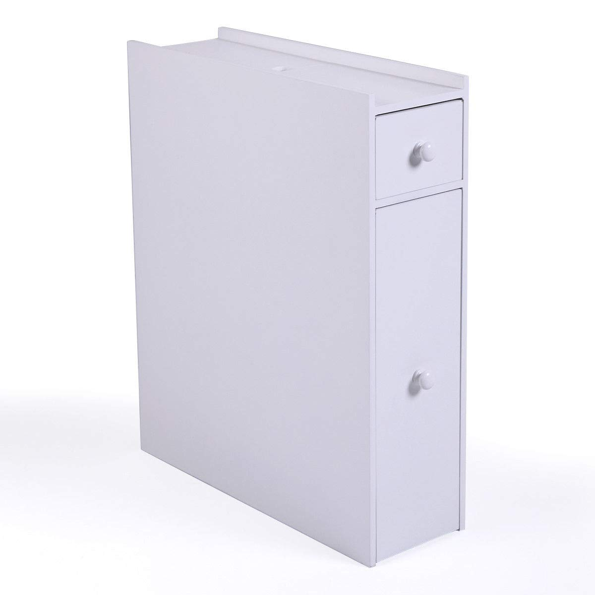 HPW White Slim Bathroom Storage Cupboard Thin Cabinet Unit 2 Drawers Wooden Floor Toilet Bath Washroom Organizer Free Standing Over The Door Shower Caddies Ample Storage Space Fully Assembled