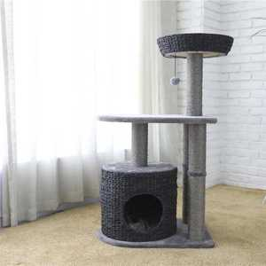 Gray High Cat Scratching Tree Series,Wicker Cat Tree House
