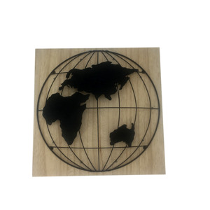 Round Mesh LED Sign World Map wooden plaque Metal Wall Hanging Art Plaque