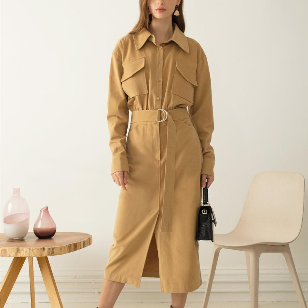 New arrival chic lady cargo pocket long sleeves shirt dress with waist tie belt