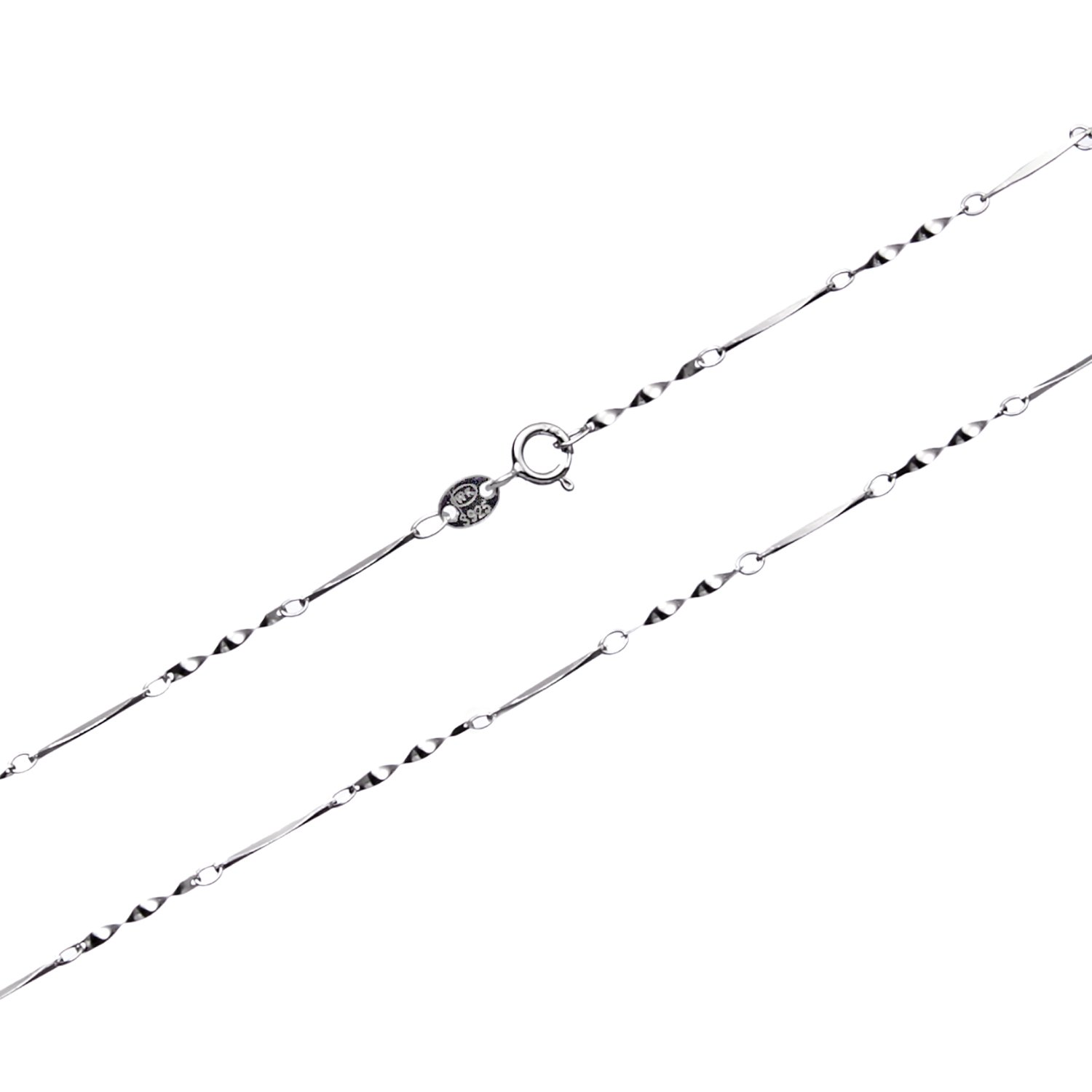 Wellme Sterling Silver 0.7mm/1mm Solid 925 Twisted Bright Piece Link Chain Necklace 16''-24''