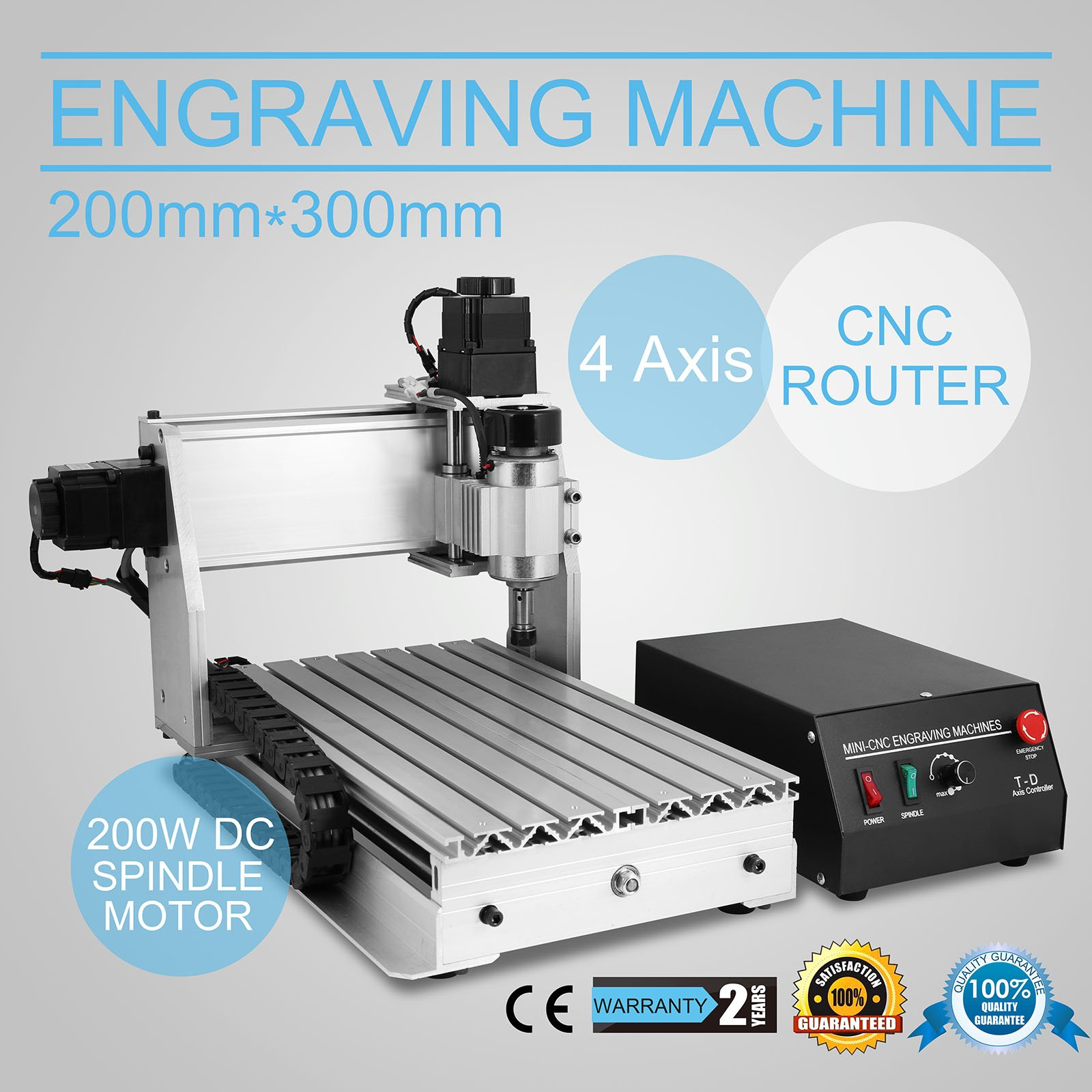 CNCShop CNC Router Engraving Machine Engraver Machine 3020T 4 Axis Desktop Wood Carving Tools Artwork Milling Woodworking with Rotary Axis (3020T 4 Axis)