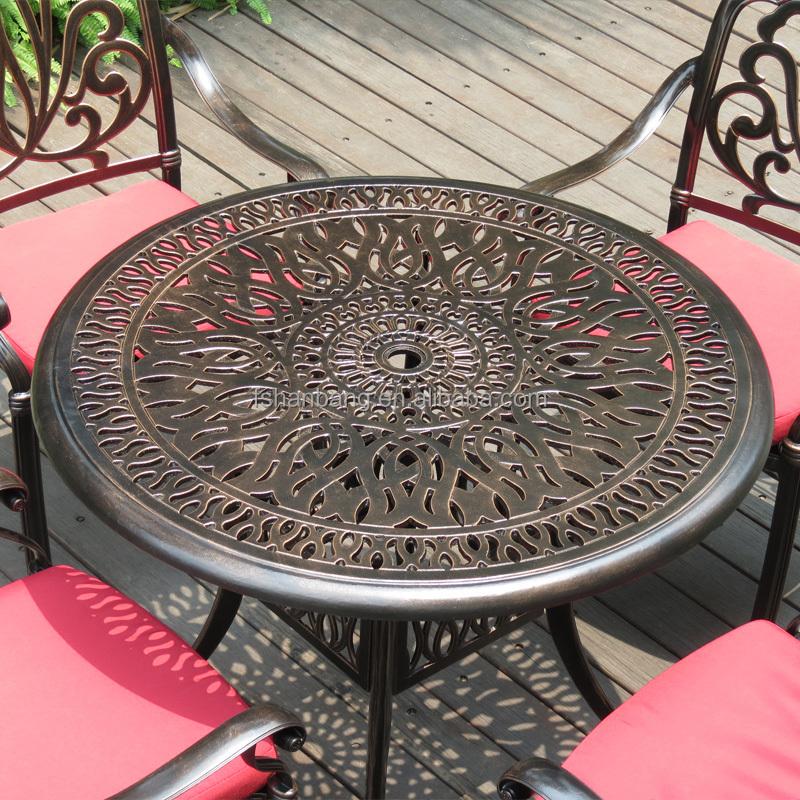 Schwere Alle Witterungsbeständig Runden Esstisch Und Stühle Terrasse Garten  Metall Aluminiumguss Schmiedeeisen Möbel