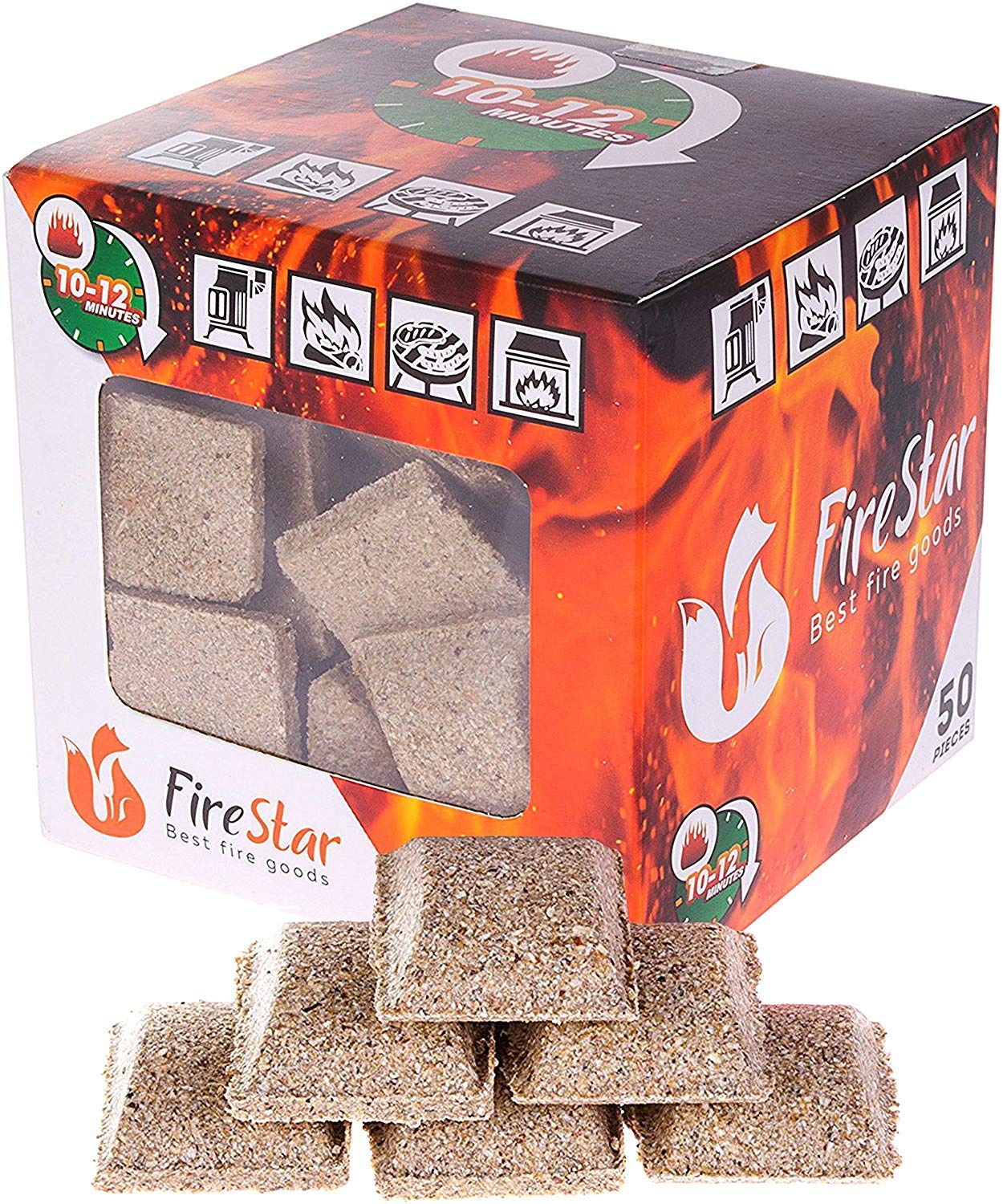 Fire Starter Squares - Firestarter Cubes Pack 50pcs - Charcoal briquette for BBQ, Fireplace and Camping - Fire Starters Made from Wood and Wax - Grill Starter Burns up to 12 min