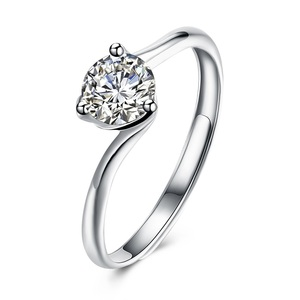 Womens 925 Sterling Silver/ Copper Jewelry Created Diamond Round Cut Solitaire Cubic Zirconia Platinum Plated Engagement Rings