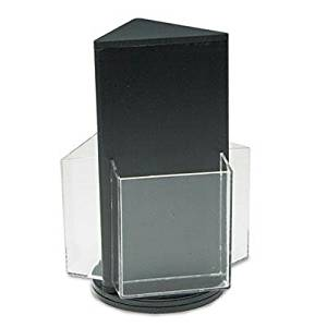 "Deflect-O - Countertop Revolving Literature Racks Three Compartments 7-1/2W X 10-3/4H Blk ""Product Category: Desk Accessories & Workspace Organizers/Literature Display Racks & Holders"""