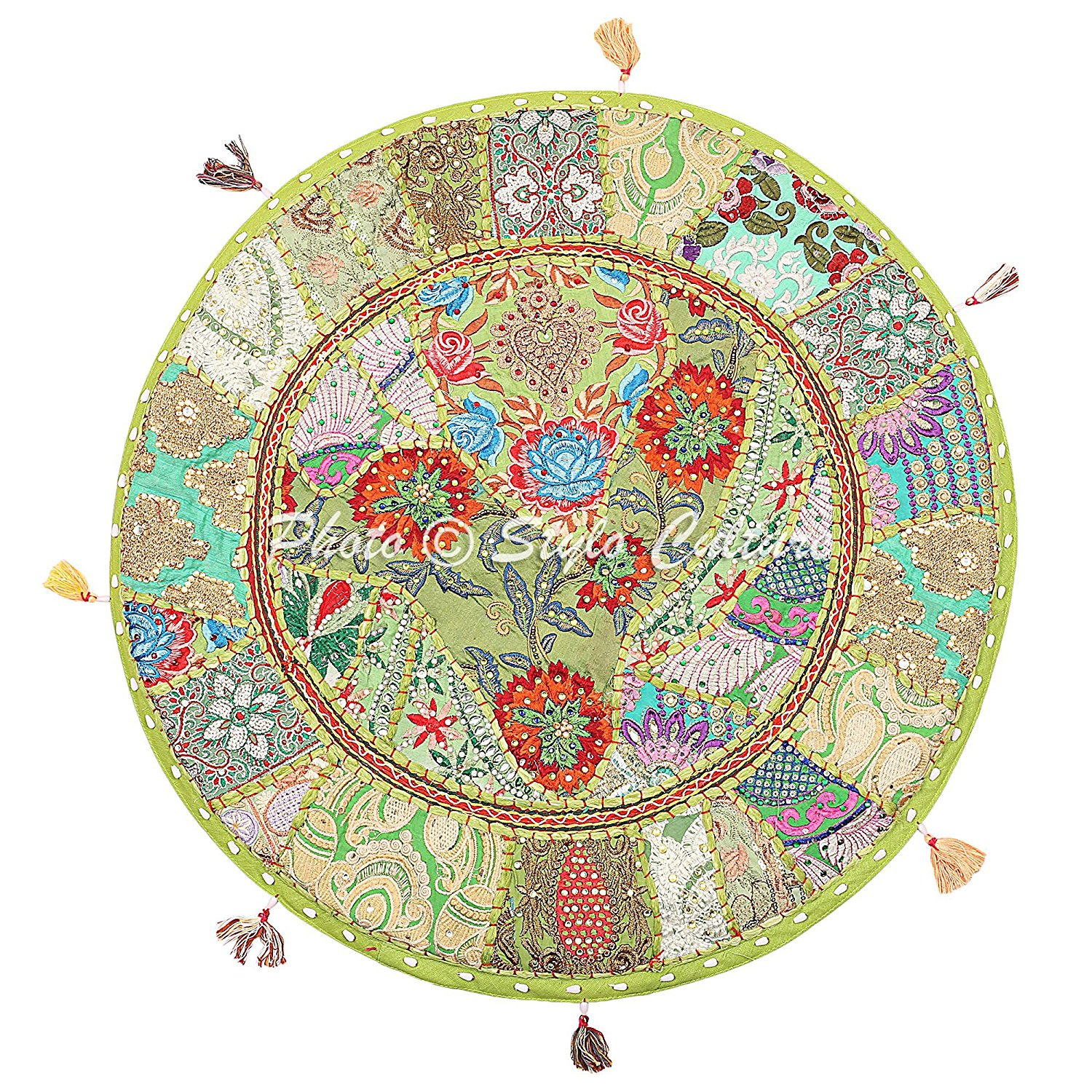 "Stylo Culture Cotton Traditional Throw Indian Floor Pillow Cover Vintage Embroidered Patchwork Green 22"" Indian Floor Cushion Seat Pouf Cover"