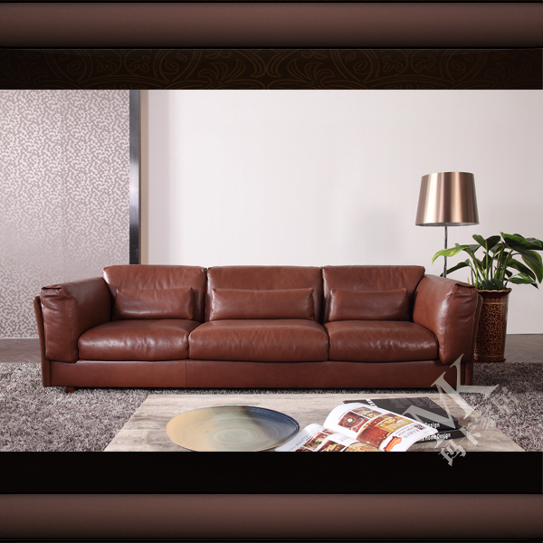 Latest executive living room 4 seater leather sofa with chaise lounge