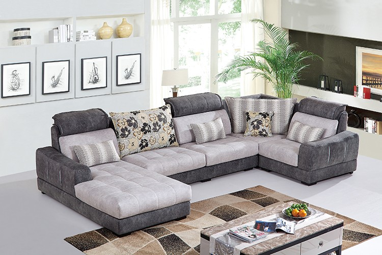 Wholesale 2016 New Design Pine Wood Frame 3 Seats Lounge Corner Sofa Set Blanket Fabric U Shape