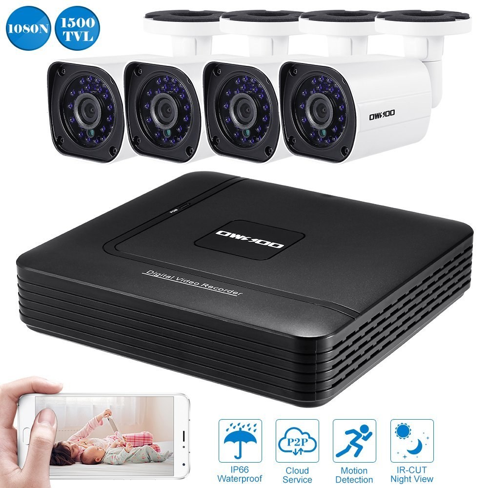 OWSOO 4CH CCTV DVR System Security Camera Kit With 8CH 1080N DVR + 4pcs AHD 720P Waterproof Outdoor Bullet CCTV Camera Support HD P2P Cloud IR-CUT Night Vision Android/iOS APP Motion Detection