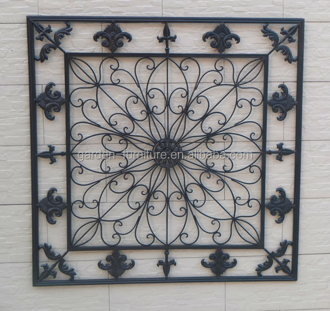 home decorative fleur de lis wrought iron panel metal wall art hanging decor buy wall hanging. Black Bedroom Furniture Sets. Home Design Ideas