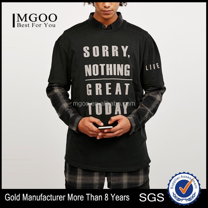 MGOO Newest Arrival Custom Men's Streetwear Brands Summer Fashion Street Wear 100% Cotton Tshirts with Screen Printing