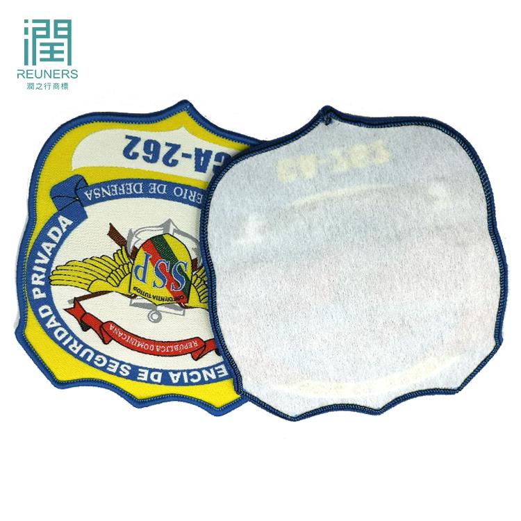 Benutzerdefinierte Uniform Oes Woven Logo Patch Stickerei Designs Für Bekleidungs