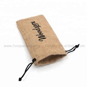 Hot sell custom logo printed plastic lining burlap bags with drawstring
