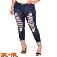 2020 Clothing of the latest fashion blu scuro pictures women tight jeans plus size