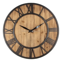 Retro 24inch Wooden Wall Clock Modern Large Decorative Wall Clock Metal Quarts Clocks(T8201)