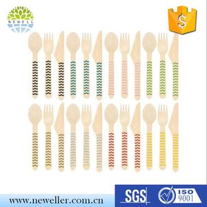 high quality wave-handle paper packing airline cutlery in box