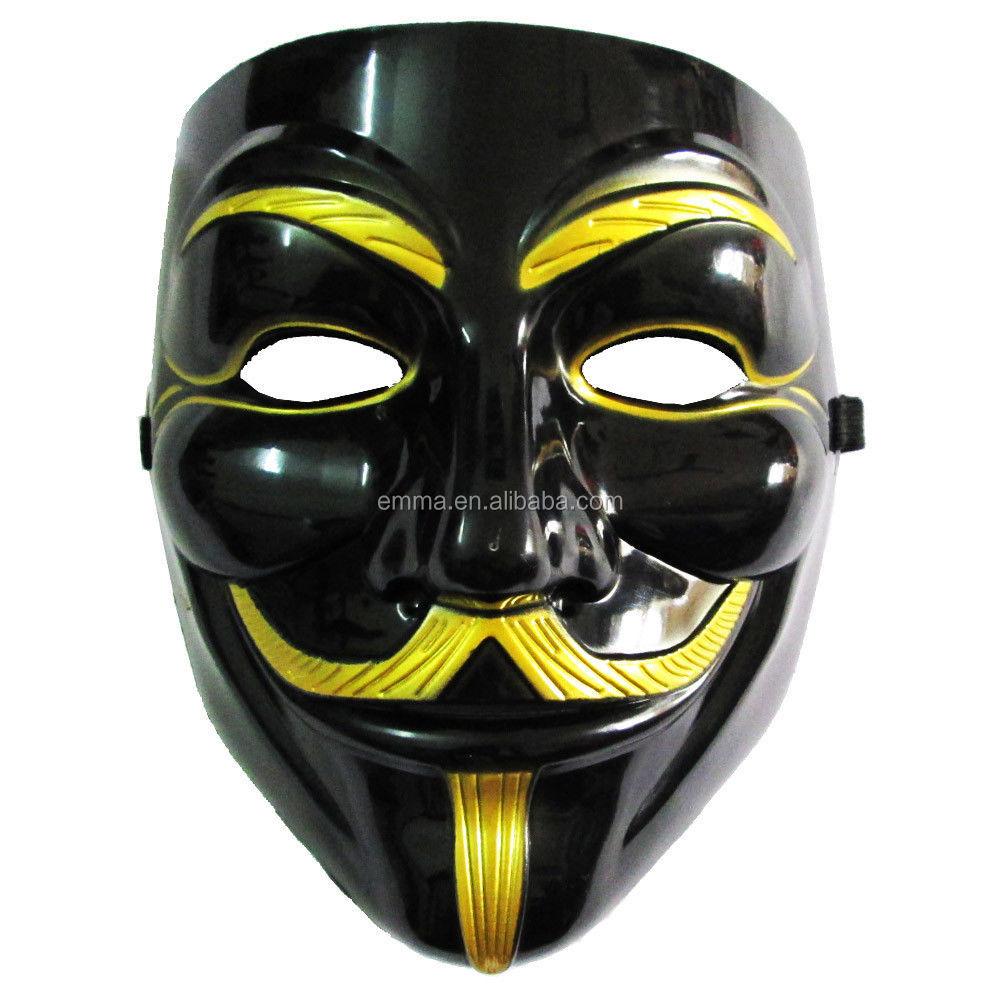 Siyah V Satılık Vendetta Maskesi Için V Hattı Yüz Maskesi Cadılar