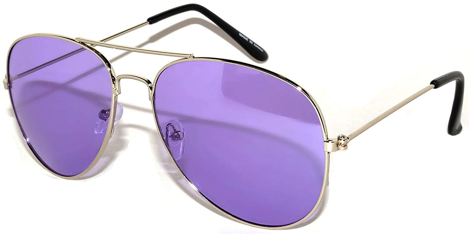 685a7338dc1 Get Quotations · Classic Aviator Style Colored Lens Sunglasses Metal Frame