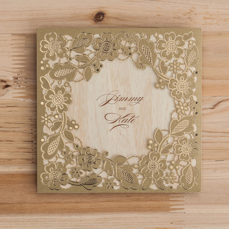 Wishmade <strong>Luxury</strong> Personalized Wooden <strong>Wedding</strong> <strong>Invitation</strong> Card Laser Cut Gold Foil High Quality