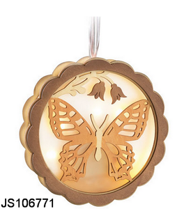 Wooden butterfly with led lights hanging, for Spring decoration