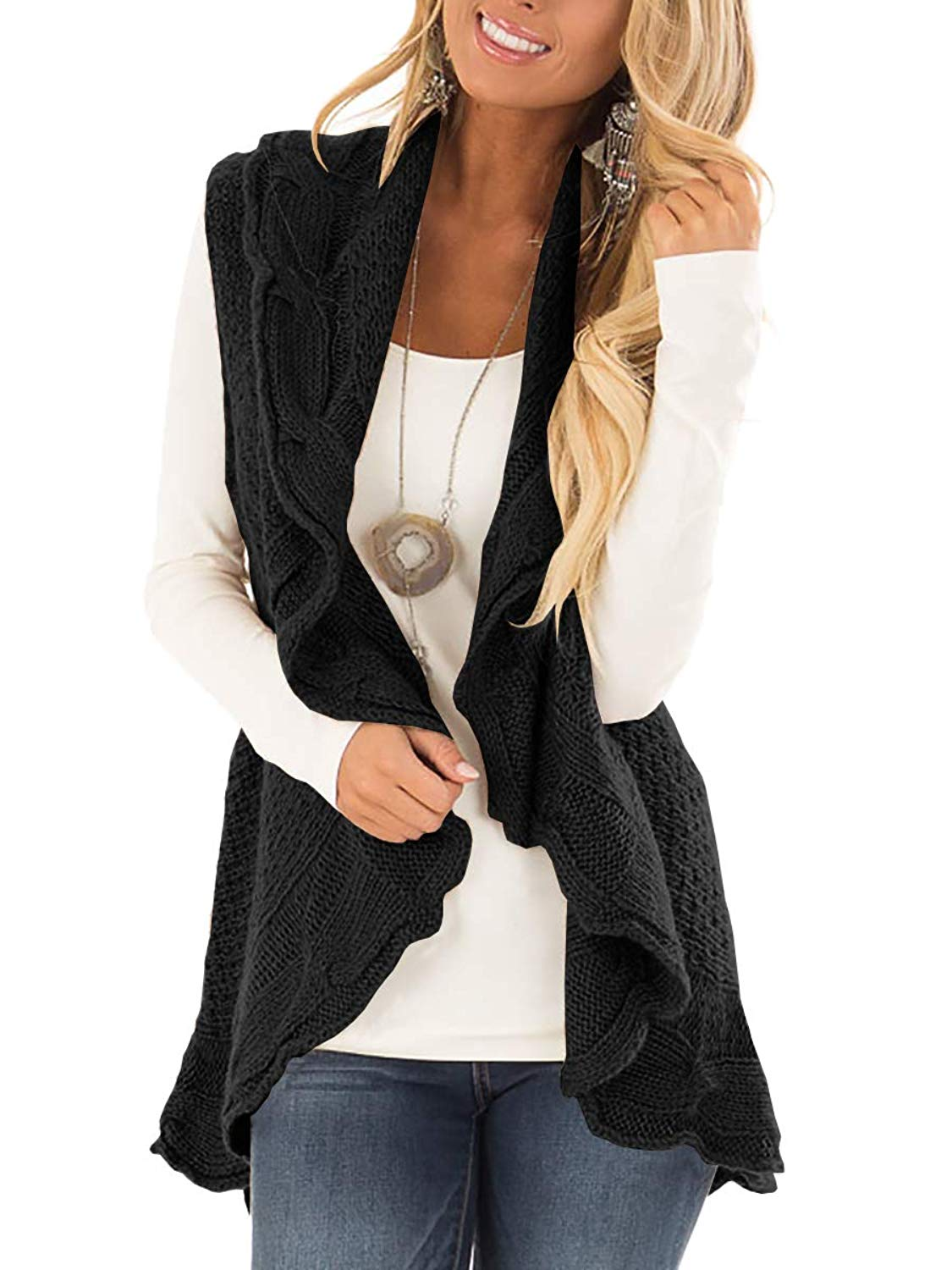 795c95daf9a Get Quotations · GAMISOTE Women s Cardigan Vest Sleeveless Open Front  Knitted Drape Sweater Coat