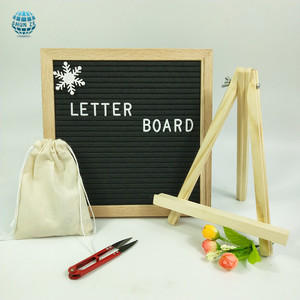 Felt Letter Board Felt Changeable Message Board Wood Frame Sign Board with plastic Letters, Numbers, Emojis (10x10)