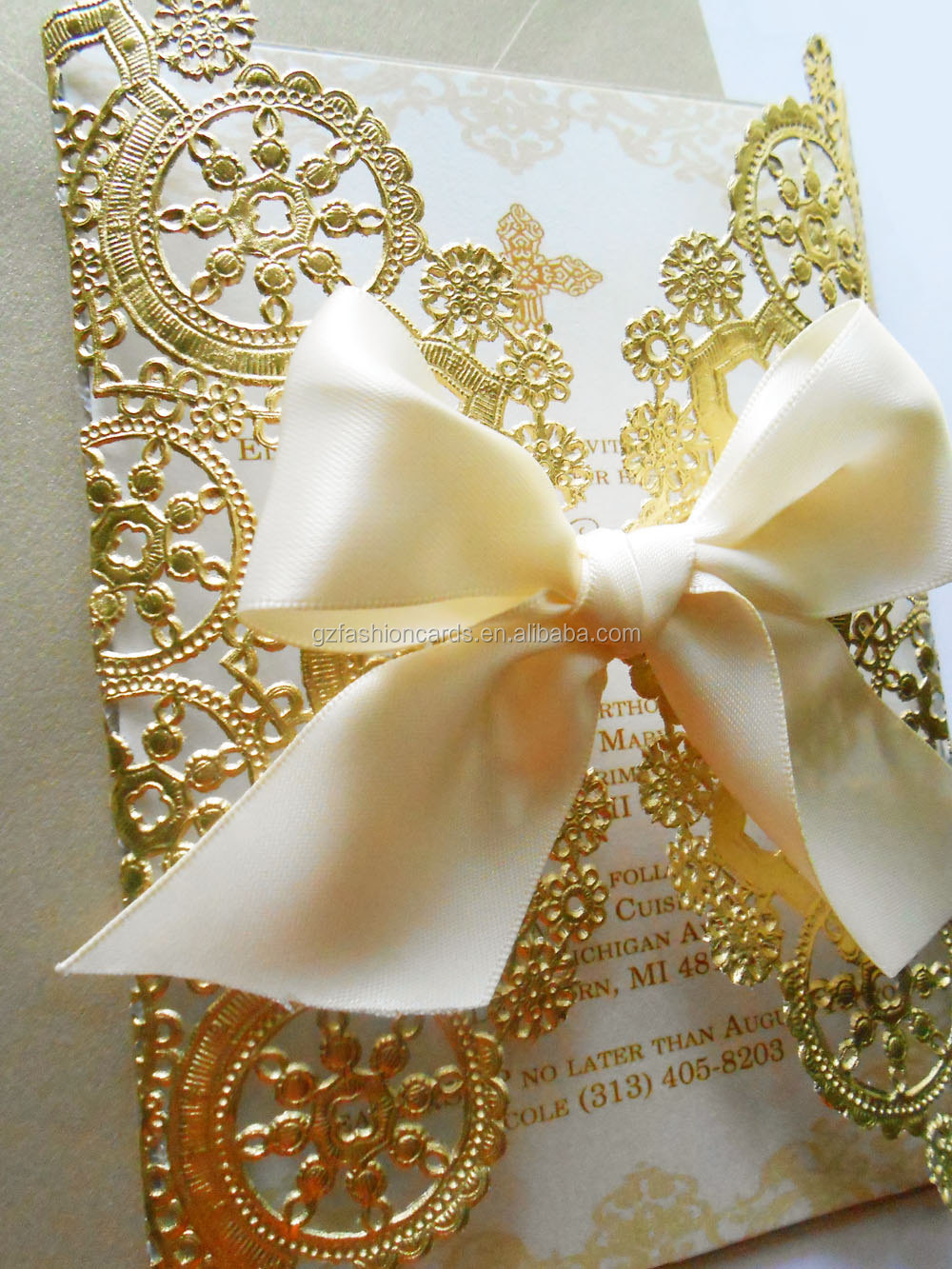 Doily Style Metallic Gold Invitation Foil Paper Wedding Invitations