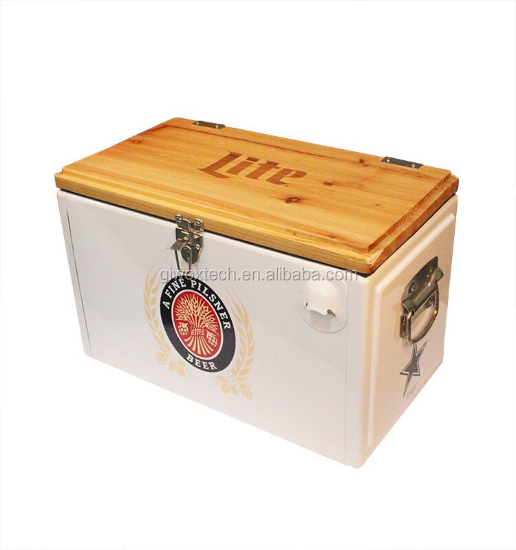 Giwox 25L metal cooler box with wooden cover portable ice cooler with lock