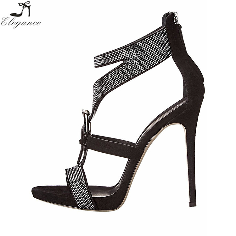China Excellent Black PU Girls Buckle Strap Rhinestone Stiletto High Cover Heels Shoes Pumps Bling Wedding Bridal <strong>Sandals</strong> 2017