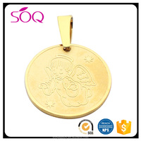 Customized various styles high quality gold jewelry stainless steel engrave pendant