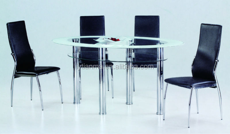 modern design glass and chrome round dining table and 4 chairs set