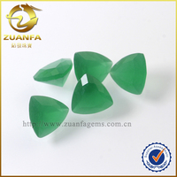 7*7mm trillion cut imitation jade stone price buyers of precious stone green frosted back glass gemstones