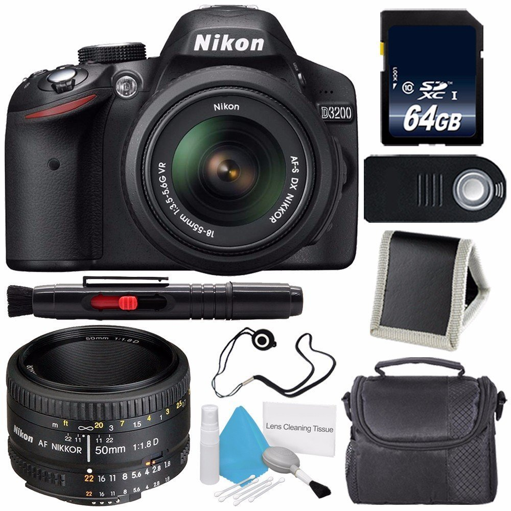 Nikon D3200 Digital Camera w/ 18-55 VR II Lens (International Model No Warranty) + Nikon 50mm f/1.8D AF Nikkor Lens + 64GB SDXC Class 10 Memory Card Bundle 113