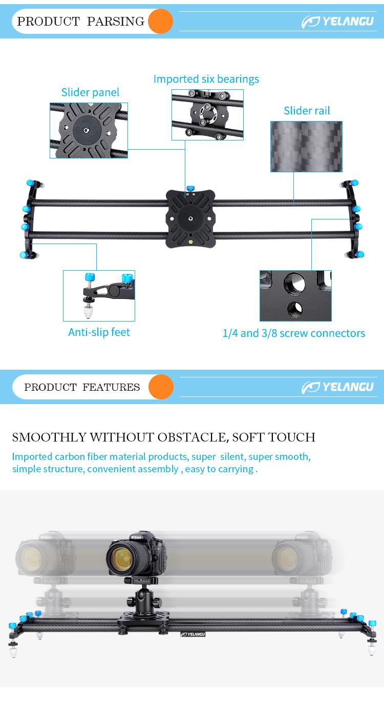 YELANGU L80T Professional Carbon Fiber Camera Bearing Slider Dolly for Dslr Camera