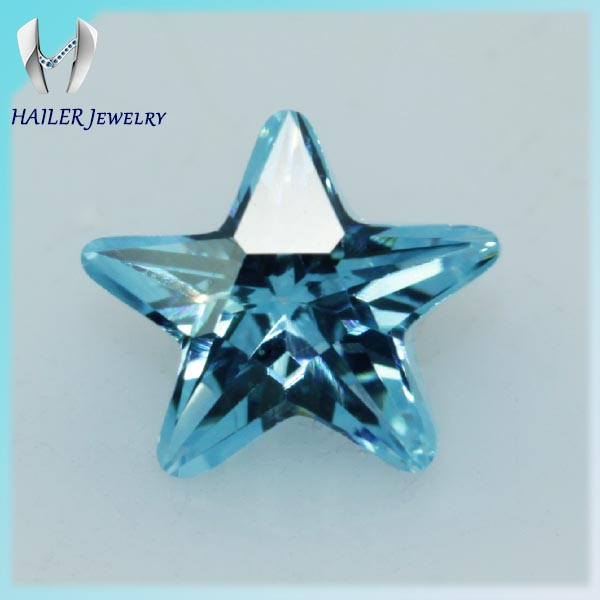 Wholesale Factory Price Aquamarine Star Shape CZ For Jewelry